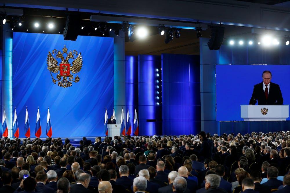 Vladimir Putin durante su discurso anual sobre el Estado de la Nación anunciando las reformas constitucionales