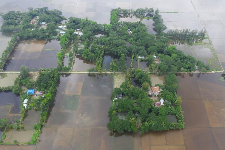 Farm fields under water and some houses stranded around flood waters