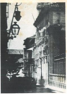 Fotografía del edificio del antiguo gobierno civil de Granada.Foto de Torres Molina (en Eduardo Molina Fajardo, 'Los últimos días de García Lorca'. Barcelona, Plaza & Janés, 1983, pág. 273).