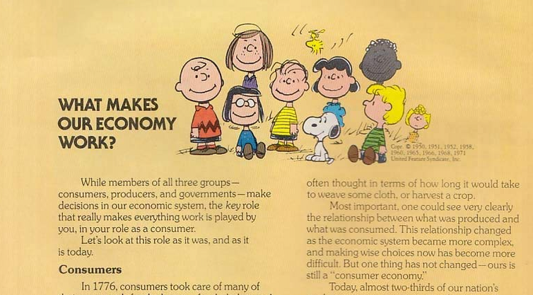 Part of a page from the 1970s booklet that used Charles Schultz's 'Peanuts' comic strips to explain the benefits of America's economic system.