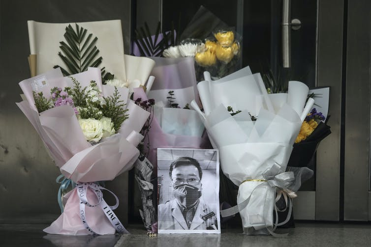 A memorial to the late Dr. Li Wenliang at Li's hospital in Wuhan, China, Feb. 7, 2020. Getty Images