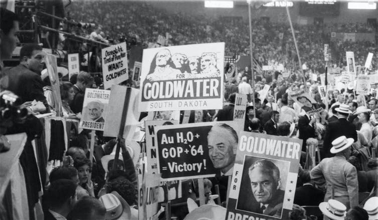 GOP presidential candidate Barry Goldwater's supporters thought he'd win when an invisible army of conservatives would emerge on Election Day. They didn't. Mickey Senko/CQ Roll Call via Getty Images