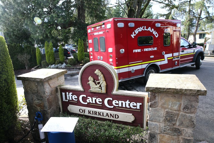 The Life Care Center in Kirkland, Washington, where 13 people have died from COVID-19 as of March 8. Others inside have tested positive for the coronavirus. Getty Images / Karen Ducey