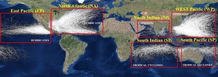 Tropical storm tracks since 1842