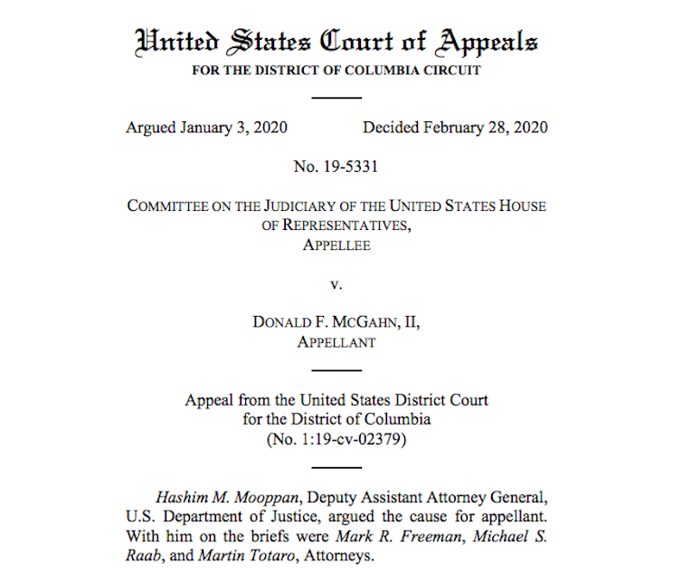 The Appeals Court ruling in House Committee on the Judiciary v. McGahn.uscourts.gov