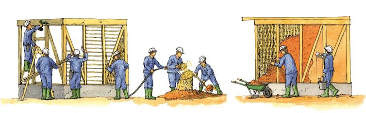 Torchis : la terre, mélangée à de la paille, recouvre une ossature en bois. Arnaud Misse