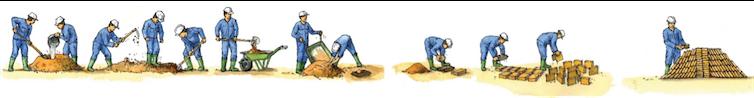 Adobe : la terre est moulée à l'état plastique et séchée à l'air libre. Arnaud Misse