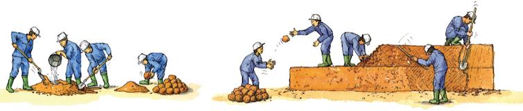 Bauge : la terre malléable est empilée pour former un mur. Arnaud Misse