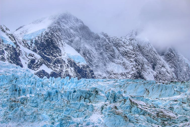 South Georgia is covered by glaciers and steep mountains.