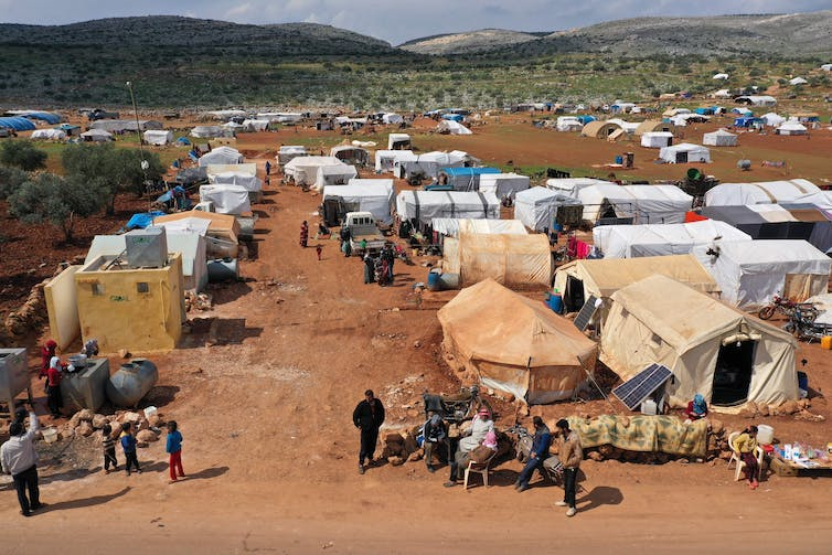 Displacement camps in Syria's Idlib province pack people closely together, with no running water. Omar Haj Kadour/AFP via Getty Images