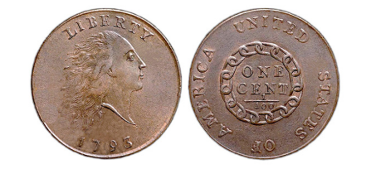 A copper penny produced in 1793 by workers at the U.S. Mint in Philadelphia. The U.S. Mint