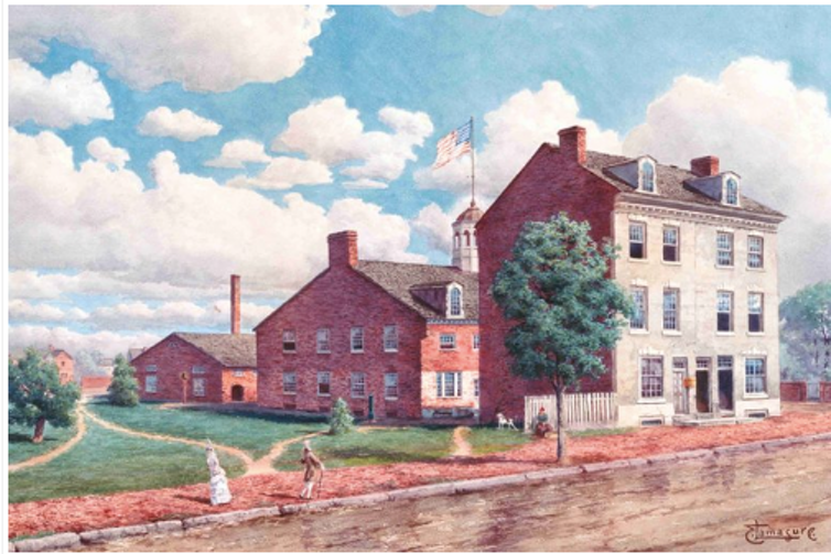 An artist's rendition of the first Mint in Philadelphia. The U.S. Mint