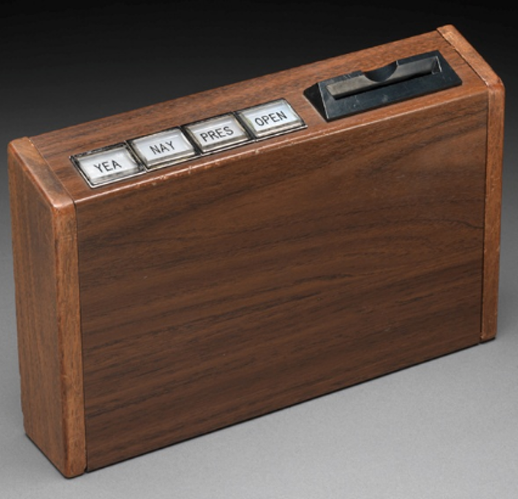 One of the first electronic voting machines used by the House, after electronic voting was introduced in 1973.House of Representatives