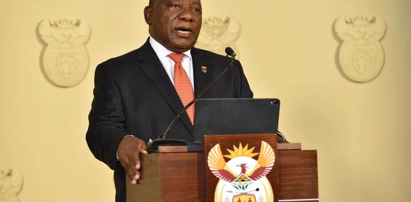 South Africas President Cyril Ramaphosa declaring a national lockdown as a result of COVID-19. EPA/picture supplied by GCIS (Government Information Services)