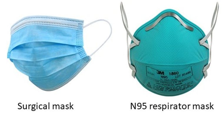 A surgical mask, left, and an N95 mask, right.