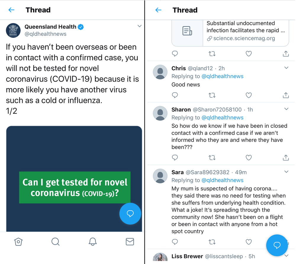 Sample bot text claiming Sara's mum was told not to get tested.