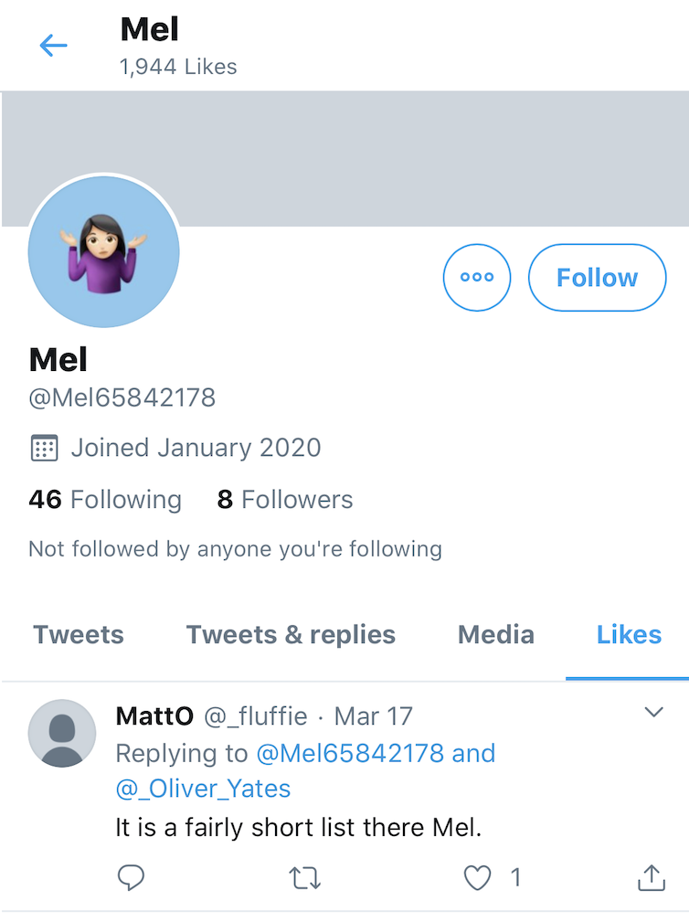 A response from another user to Mel's account.
