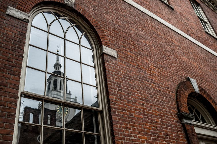 When the Founders signed the U.S. Constitution in Independence Hall (reflected here), they included a provision for immunity for Congress members. Getty/Phil Roeder