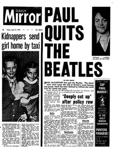 Paul Mccartney quits the beatles