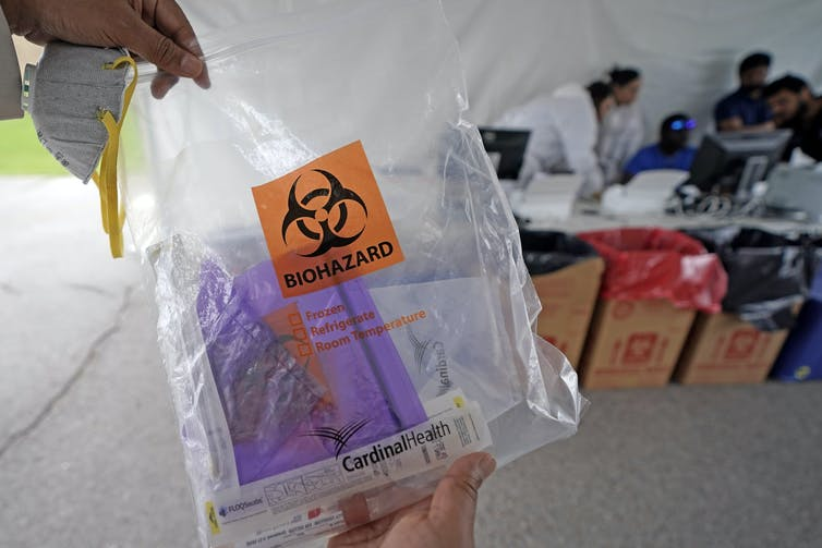 A coronavirus test kit. Necessary before a person can be declared officially recovered. AP Photo/David J. Phillip