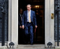 Foreign Secretary Dominic Raab is standing in for Prime Minister Boris Johnson, at least for now.Tolga Akmen/AFP via Getty Images
