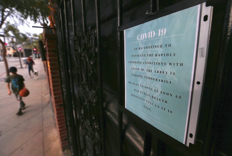 The Abbey, one of Los Angeles' most famous gay bars, announces its temporary closure due to the coronavirus pandemic. Luis Sinco/Los Angeles Times via Getty Images