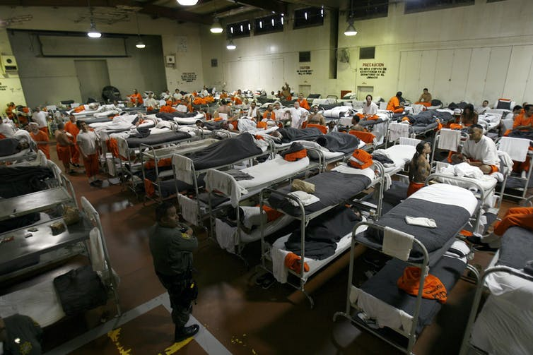A gymnasium turned dorm at the California Institution for Men in Chino, May 24, 2011.Ann Johansson/Corbis via Getty Images