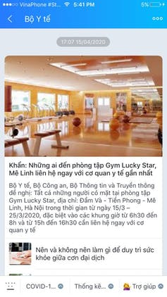 A text sent via Zalo from the Ministry of Health looking for people who had visited Lucky Star Gym as one confirmed COVID-19 case went there. Below are some tips for staying well. Author provided