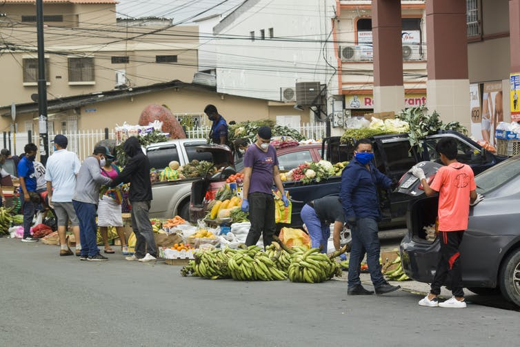 Street vendors in Guayaquil, Ecuador, April 17, 2020. Eduardo Maquilón/Agencia Press South/Getty Images