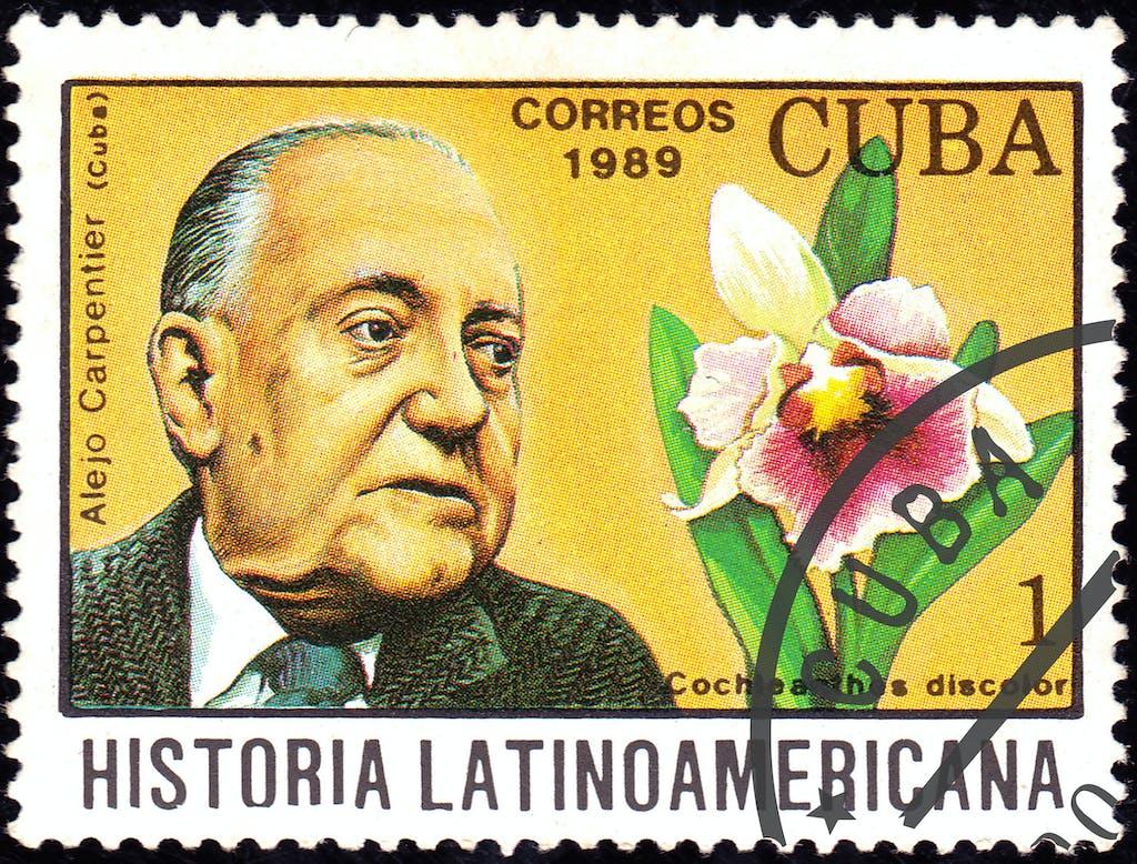 Kubanische Briefmarke zu Ehren Carpentiers | Bildquelle: https://theconversation.com/40-anos-sin-alejo-carpentier-un-musico-de-la-palabra-136593 © NA | Bilder sind in der Regel urheberrechtlich geschützt