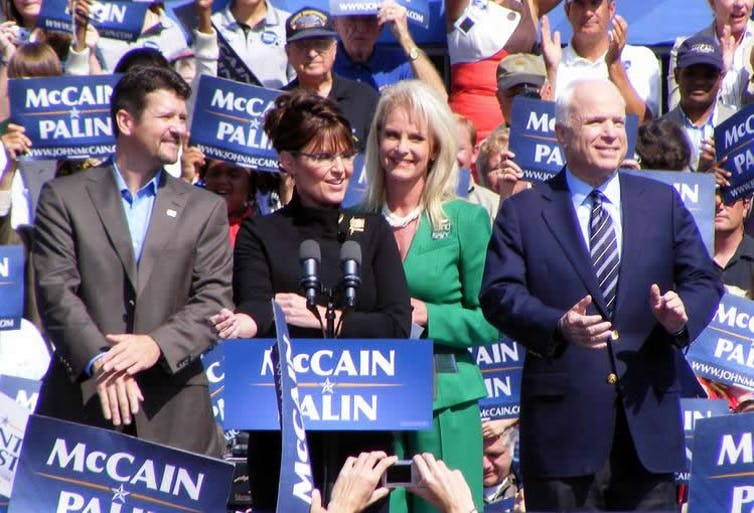 When John McCain, right, picked Sarah Palin, second from left, as his running mate in 2008. Rachael Dickson/Wikimedia Commons, CC BY