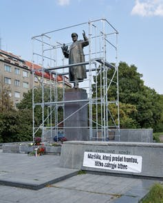 The statue to Marshall Konev in Prague being dismantled, April 2020.