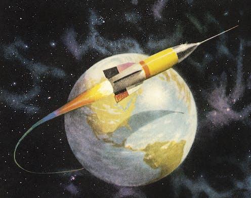 космический корабль в пределах яблока вкл растения