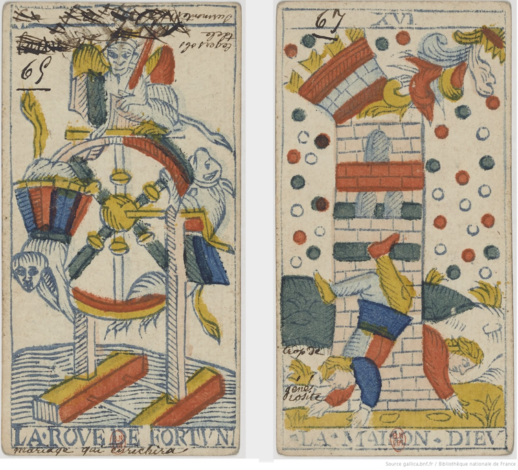 Two images from a Tarot de Marseilles deck allegedly annotated by the fortune teller Mademoiselle Lenormand (Photo: Bibliothèque Nationale de France)
