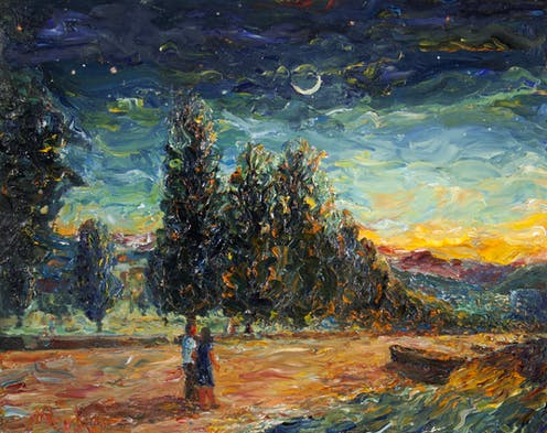 Oil painting of a couple standing on a road, in front of trees, with a cloudy night sky with crescent moon