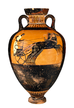 An ancient Greek vase with an image of a four horse chariot.
