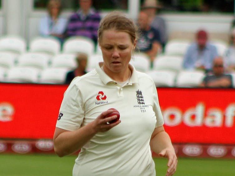Anya Shrubsole during the 2019 Women's Ashes Test match at the County Ground, Taunton, UK.