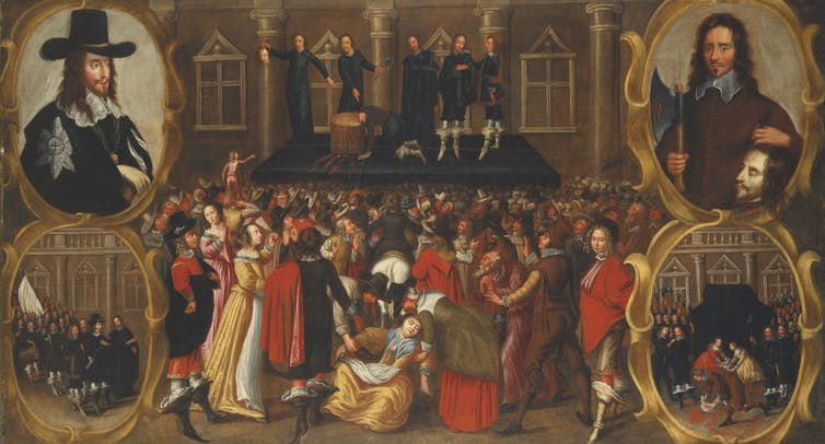 Iconoclasm: the beheading of the English king, Charles I, in January 1649.