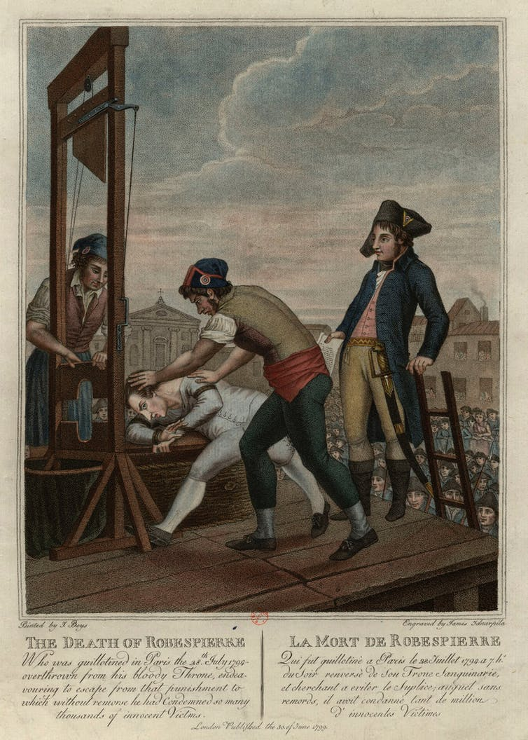 Having consigned many others to death by 'Madame Guillotine', Maximilian Robespierre met his end the same way in July 1794. Engraving by Giacomo Aliprandi of a design by Giacomo Beys. Bibliothèque nationale de France