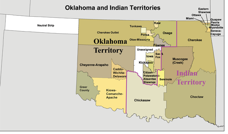 Map of Oklahoma and Indian territories