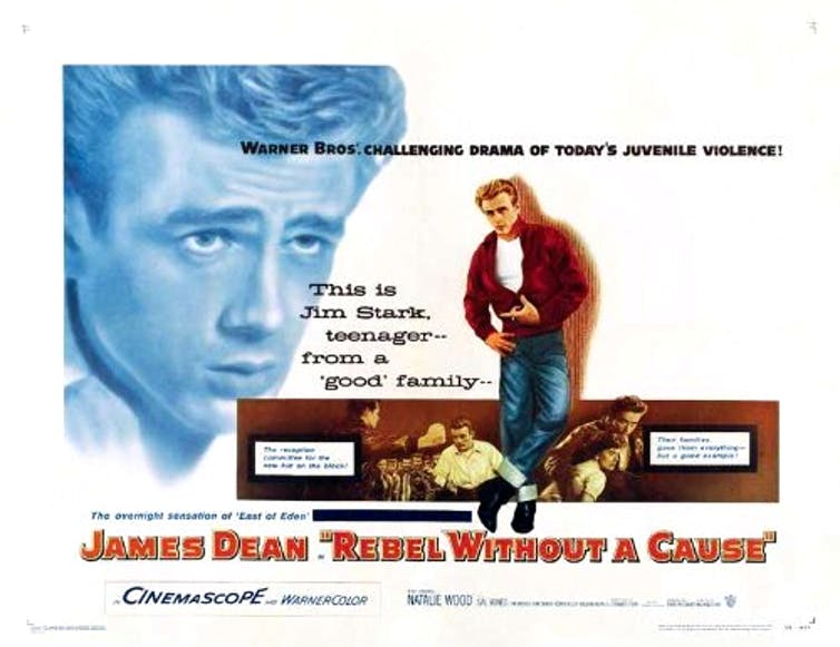 A movie poster for rebel without a cause