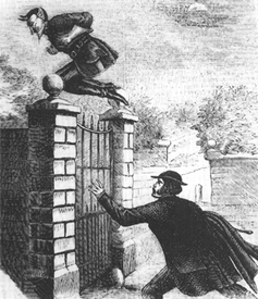 Spring-heeled Jack jumping over a gate.