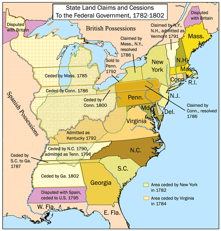 The original 13 U.S. colonies and their territorial changes from 1782 to 1802.