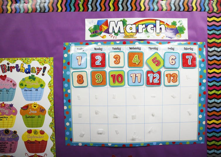 In the second grade classroom of teacher Mrs. Miranda at Cerritos Elementary School in Glendale, the calendar never went beyond  March 13, 2020.