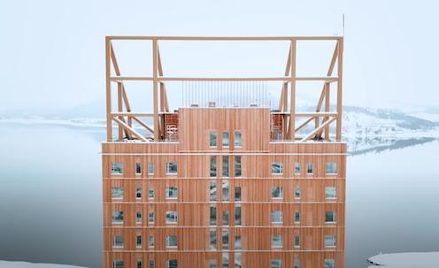 Tall wooden building Mjøstårnet in Norway.