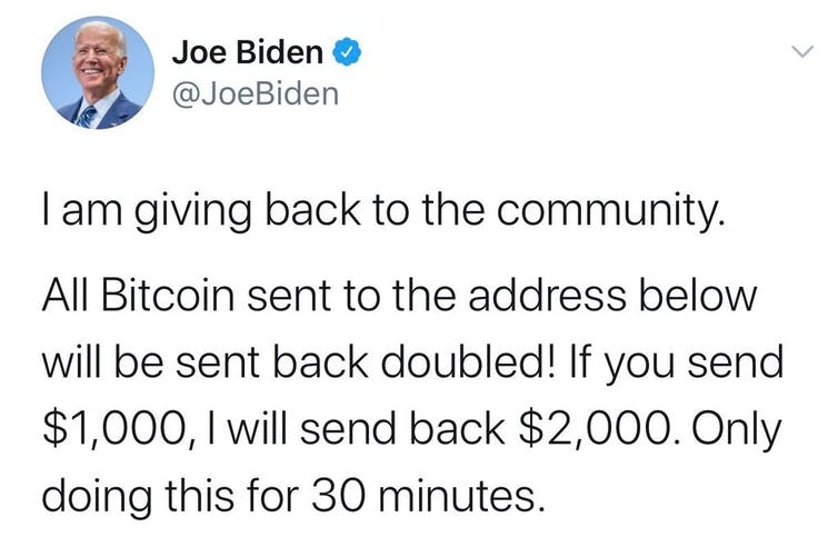 Screen shot of Joe Biden's hacked account.