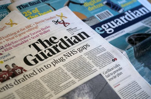 A pile of Guardian newspapers
