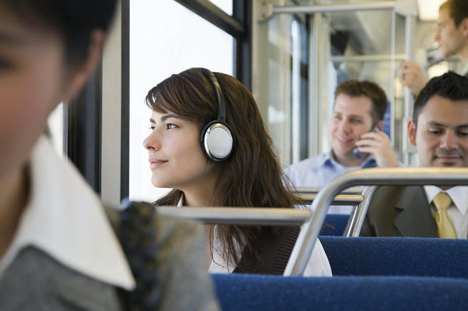 Listening to music while travelling.
