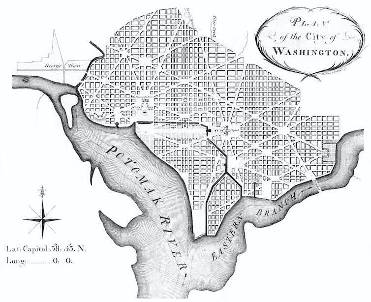 Plan de L'Enfant para Washington, revisado por Andrew Ellicott. Wikimedia Commons / Library of Congress