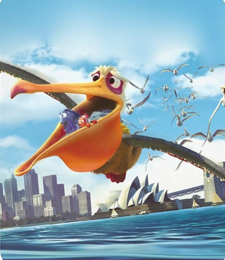 The pelican from Finding Nemo with fish in his mouth.